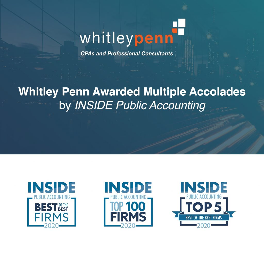 Whitley Penn Awarded Multiple Accolades by INSIDE Public Accounting for 2020