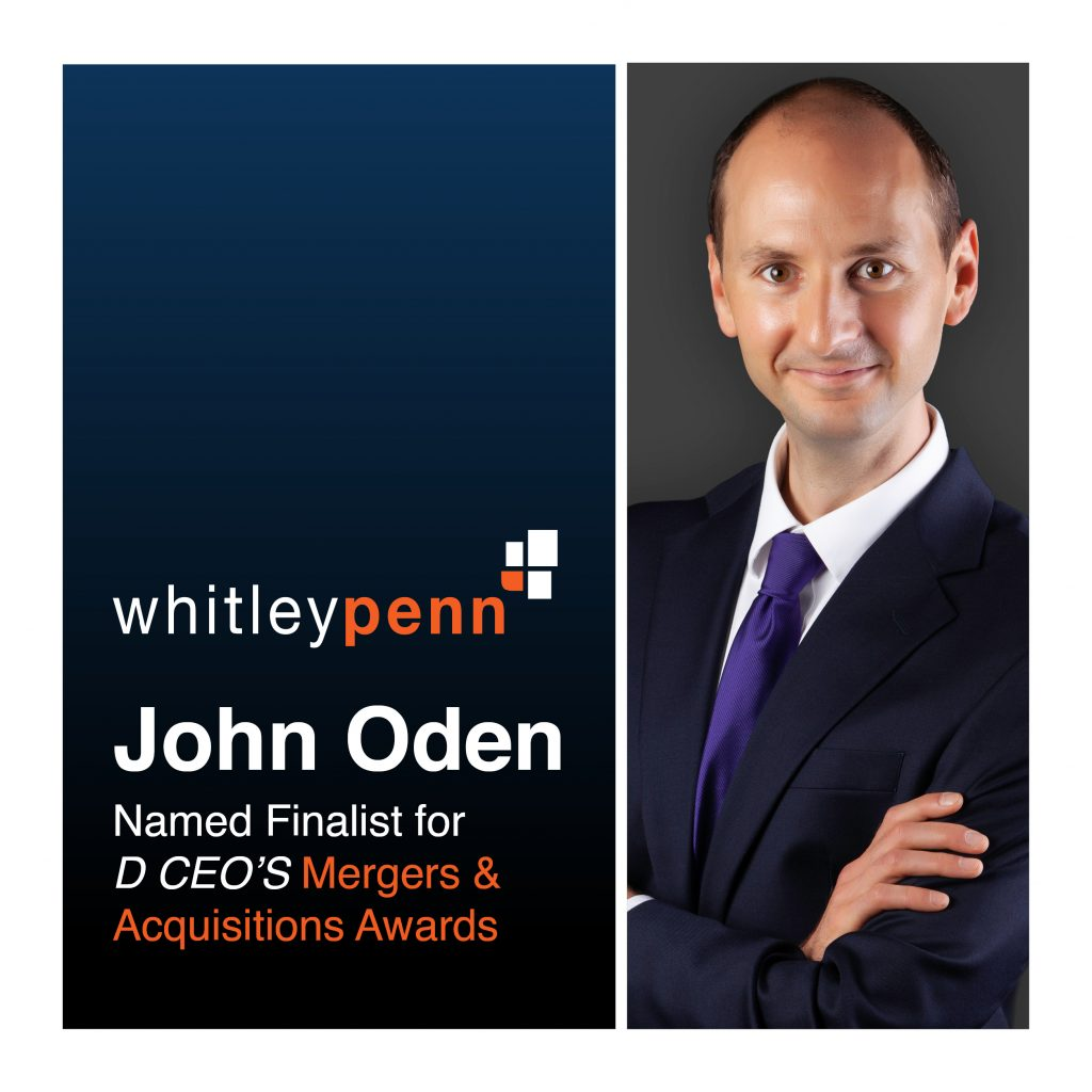 John Oden Named Finalist for D CEO's M&A Awards
