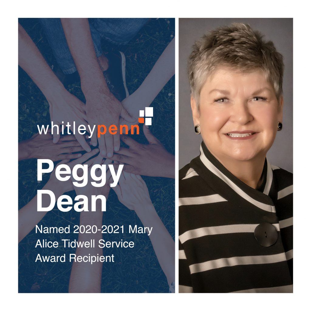 Peggy Dean Named 2020-2021 Mary Alice Tidwell Service Award Recipient