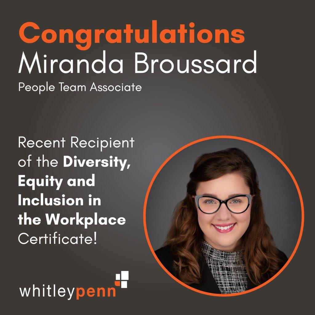 Miranda Broussard earns DEI certificate